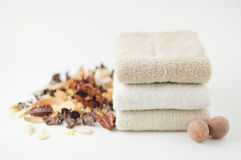 Dry potpourri and towel. Royalty Free Stock Photos