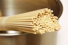 Dry Ramen Noodles in Pot. Close-up of dry japanese ramen noodles in stainless steel pot Stock Image