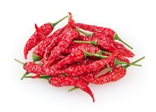 Dry red cayenne peppers isolated on white Royalty Free Stock Image