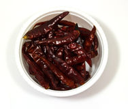 Dry red chili pepper in a  bowl Stock Photos