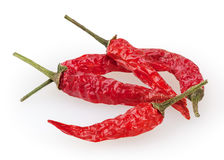 Dry red chili pepper isolated om white Stock Photography