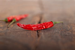 Dry red chili peppers Stock Photo