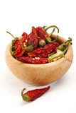 Dry red chillies Stock Photography