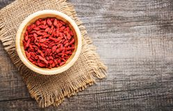 Dry red goji berries. For a healthy diet Stock Image