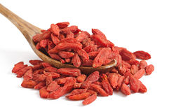 Dry red goji berries for a healthy diet Stock Photos