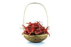 Dry red pepper in basket. On white background Stock Photos