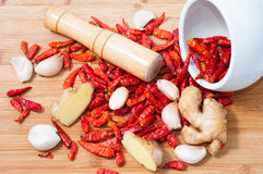Dry red pepper,ginger and garlic Royalty Free Stock Image