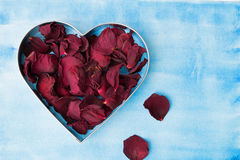 Dry red rose petals. Closeup of dry red rose petals in a heart shaped form Royalty Free Stock Photography