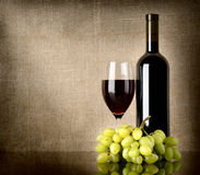 Dry red wine and grapes Stock Photos