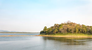 Dry reservoir landscape. Landscapes view Royalty Free Stock Photography