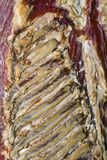 Dry Rib Bacon. Smoked Back Side of Red Meat Bacon Royalty Free Stock Images
