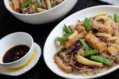 Dry rice vermicelli fried with vegetable royalty free stock photos