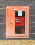 Dry Riser. A dry riser is a main vertical pipe intended to distribute water to multiple levels of a building or structure as a component of the fire suppression Royalty Free Stock Photo