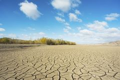 Drought period of rivers, and woods Royalty Free Stock Images