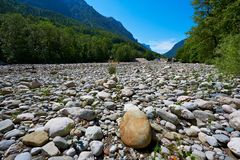 Dry River Bed. In the Bavarian Alps, Germany Royalty Free Stock Image