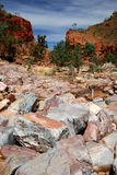 Dry river bed at Western MacDonnell Ranges Stock Images