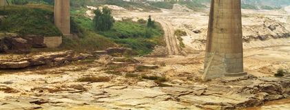 Dry river bed of Yellow River in China,. Closeup landscape photo of dry river bed of Yellow River in China, the second  longest river in China Stock Photo