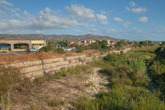 A dry river in the city. Royalty Free Stock Images