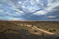 Dry river in the Gobi desert Royalty Free Stock Photography