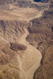 Dry riverbed. An aerial view of a dried riverbed in the mountains east of San Diego royalty free stock image