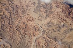 Dry Riverbed. An aerial view of a dried riverbed in the mountains east of San Diego royalty free stock photography