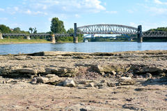 Dry riverbed of the Elbe Stock Photo