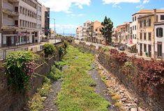 Dry riverbed in Funchal during the summer season  Madeira Royalty Free Stock Images