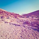 Dry Riverbed. In the Negev Desert, Instagram Effect stock photo