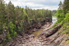 Dry riverbed of Vuoksa river. Imatra, Finland Stock Images