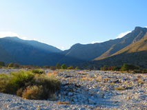 Dry Riverbed. Walking in a beautiful dry riverbed in Guadalupe Mountains National Park around midday Royalty Free Stock Images