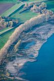 Dry riverside of Rhine in Germany with very low water level after dry summer royalty free stock photos
