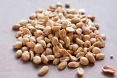 Dry Roasted Peanuts. A pile of peanuts on a neutral surface Royalty Free Stock Images