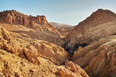 Dry rocks in desert, lit by midday sun. Chebika oasis stock images