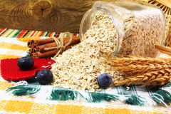 Dry rolled oatmeal flakes in bottle with blueberry cinnamon and oats ears Stock Images