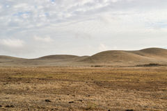 Dry rolling hills of California. `s central valley featuring brown, invasive grass in the end of the summer, on overcast day Stock Photography
