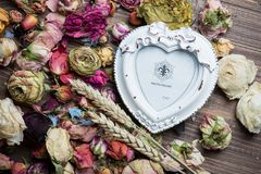 Dry rose flowers heart on wood panel Stock Image
