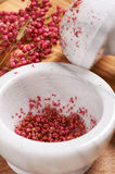 Dry rose pepper in white marble mortar next pestle Stock Images