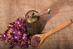 Dry roses powder Royalty Free Stock Images