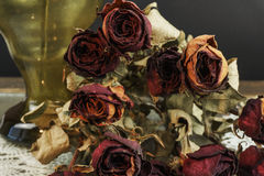 Dry Roses with vase on dark background Stock Photos