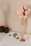 Dry Roses In Vase on Pink Stock Photography