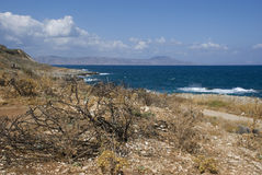 Dry and rough landscape on coast of crete island Royalty Free Stock Images