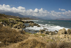 Dry and rough landscape on coast of crete island Royalty Free Stock Photos