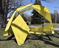 Dry Run. This is an early Spring picture of a piece of public art titled: Dry Run, on display at the Skokie Northshore Sculpture Park located in Skokie, Illinois Royalty Free Stock Image