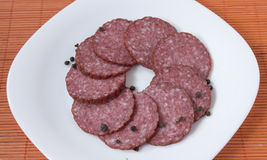 Dry salami whit black pepper Royalty Free Stock Photography