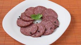 Dry salami whit black pepper Royalty Free Stock Photo