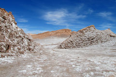 Dry salt hills in Valle de la Luna, Moon valley in San Pedro de Atacama desert Royalty Free Stock Photography