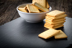 Dry salted crackers in a bowl Royalty Free Stock Image