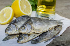 Dry salted fish. Snack for beer. Close up photo Stock Image
