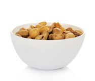 Dry salted pistachio fruit in bowl Royalty Free Stock Image