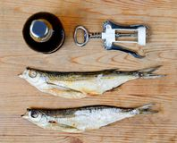 Dry salty fish and beer Royalty Free Stock Image